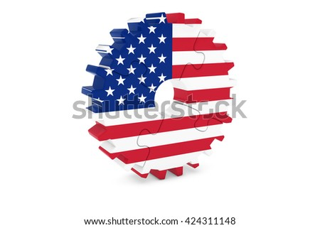 American Industry Concept - Flag of the USA 3D Cog Wheel Puzzle Illustration