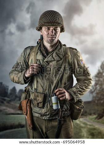 American infantry officer of the Second World War on background of field