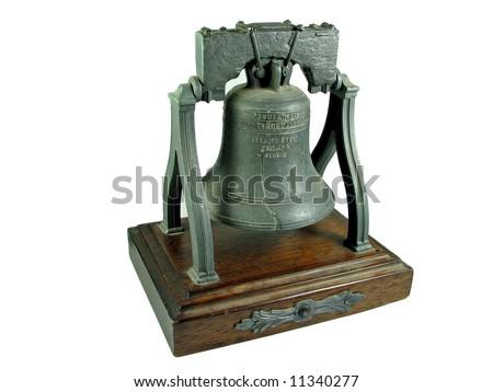 American Liberty Bell Philadelphia replica isolated on white - stock photo