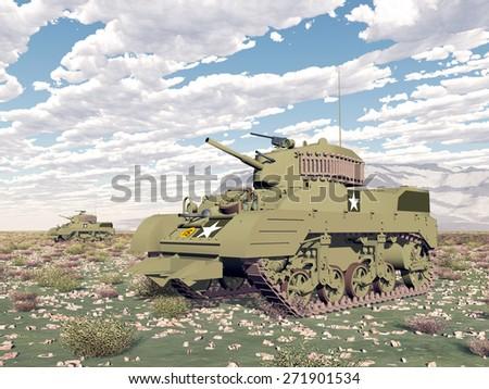 American light tanks of World War 2 Computer generated 3D illustration - stock photo