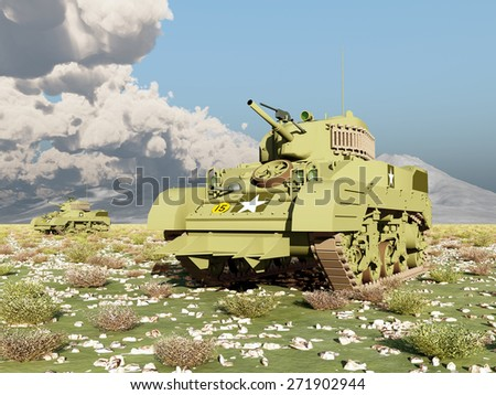 American light tanks of World War 2 Computer generated 3D illustration - stock photo