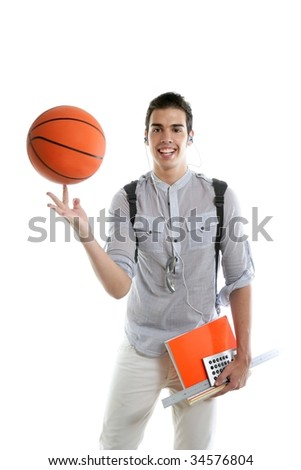 American look student boy with basket ball and notebook isolated on white - stock photo