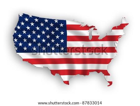 American map flag waving illustration - stock photo
