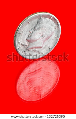 American metal coin-Half Dollar (1971). - stock photo