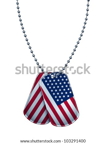 American military dog tag with the flag of the United States painted on the metal as a patriotic symbol of soldier sacrifice and fight for freedom with the the stars and stripes on the tags. - stock photo