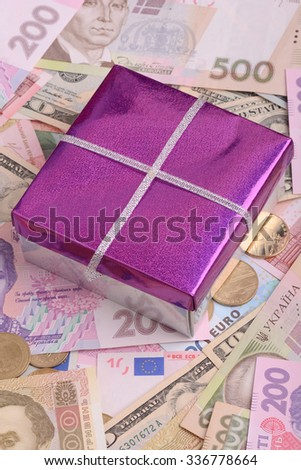 american money and red gift box, european money - stock photo