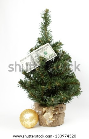 American money/Christmas stocking holding 100 dollar bills Isolated on white - stock photo