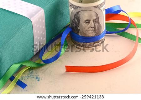 american money, dollars and gift box - stock photo