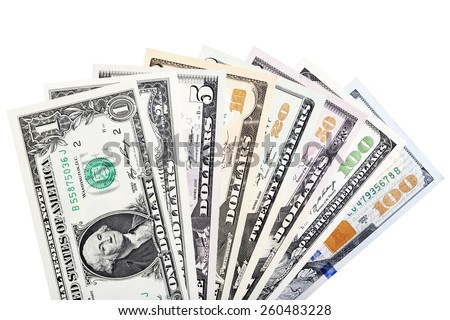 American money fanned out. 100, 50, 20, 10, 5, 2 and 1 dollar notes Isolated. - stock photo