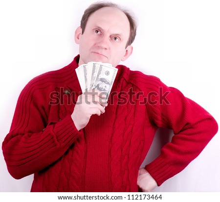 American money in old working man hands - stock photo