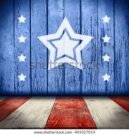 American National Flag on wooden texture background - stock photo