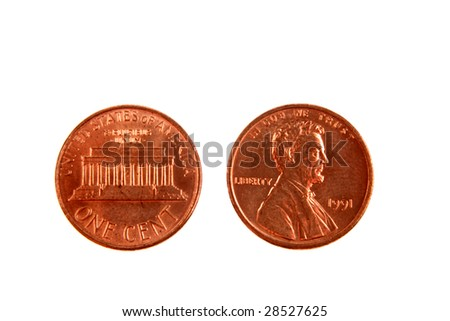American one-cent coins isolated on white - stock photo