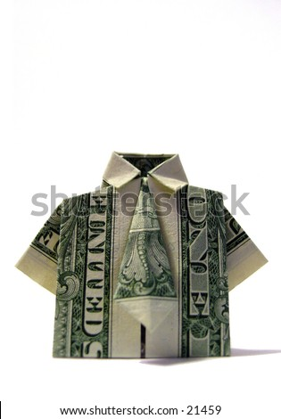 American one dollar bill folded origami style into a t-shirt