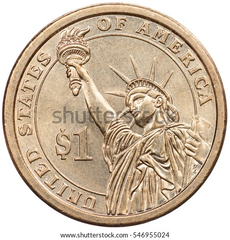 American One Dollar Gold Coin Isolated