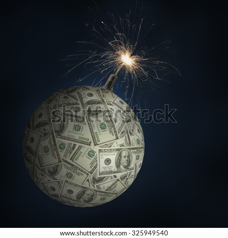 American one hundred dollar sphere as money bomb with burning fuse being a concept of global financial collapse - stock photo