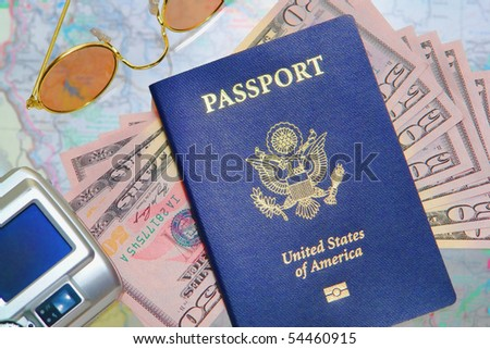 American Passport Over Us Money Sunglasses Stock Photo - Us money map