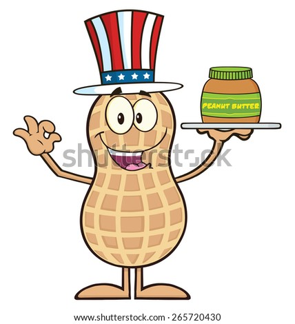 American Peanut Cartoon Character Holding A Jar Of Peanut Butter. Raster Illustration Isolated On White - stock photo