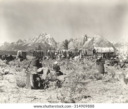 American pioneers - stock photo