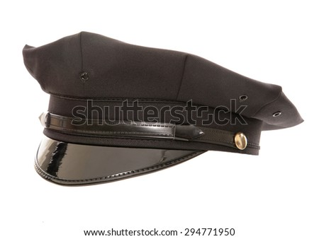 american police hat studio cutout - stock photo