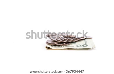 American quarters and 20 dollars bills isolated on white background