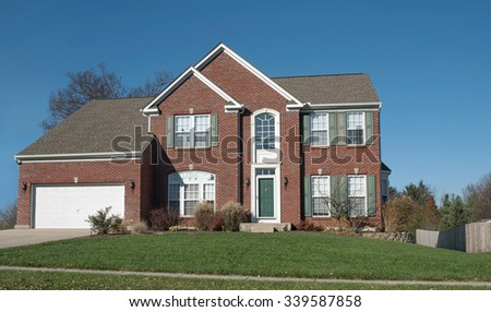 American Red Brick House - stock photo
