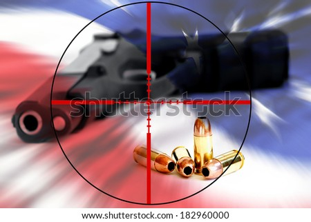 American right to keep and bear arms attached by crosshairs - stock photo