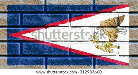 American Samoa flag painted on old brick wall texture background - stock photo
