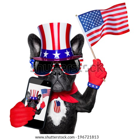 american selfie french bulldog taking a selfie and waving with usa flag