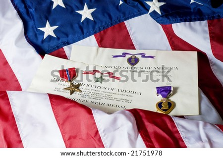 American service awards given for combat valor and wounds. - stock photo