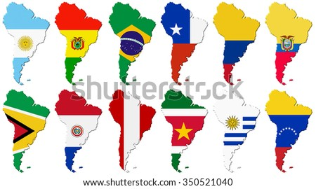 American set: Volume 3d Flags of the South America countries on continent outlines background.