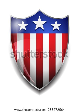 American Shield - Glossy American Flag on Shield - Raster Version - stock photo