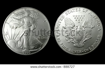 American silver a collection  dollar of 1990 - stock photo