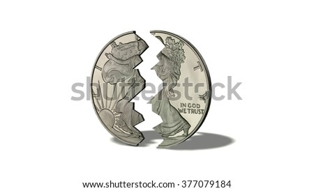 American Silver Eagle Coin broken - isolated on white background