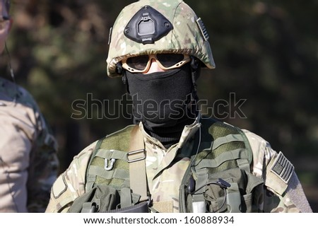 American soldier in uniform with weapon during the fighting