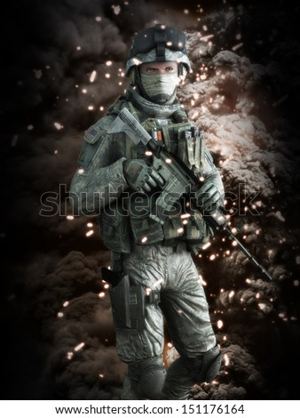 American soldier with a battlefield background. 3d model scene. - stock photo
