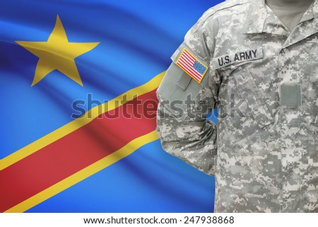 American soldier with flag on background - Democratic Republic of the Congo - Congo-Kinshasa - stock photo