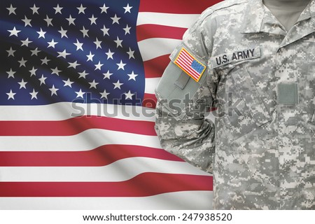American soldier with flag on background - United States - stock photo