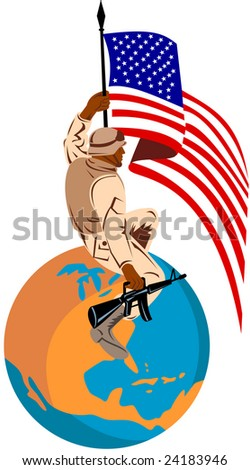 American soldier with flag on top of globe - stock photo