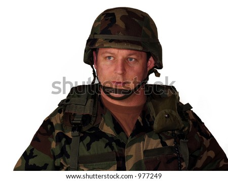American soldier with helmet and gear isolated on white - stock photo