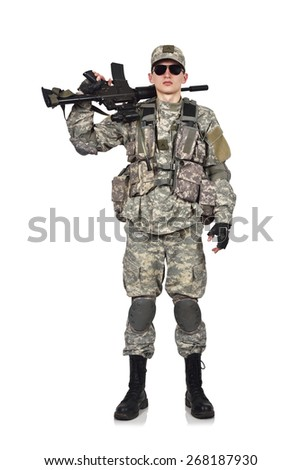 american soldier with rifle isolation on white - stock photo