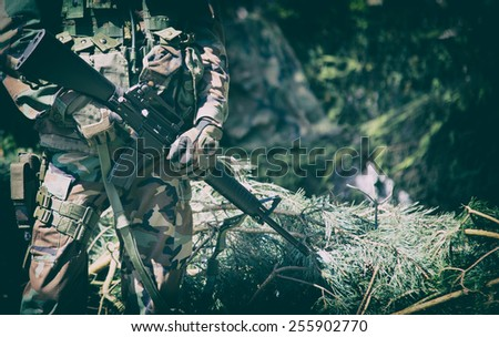American soldiers during patrol, dressed stripe camouflage - stock photo