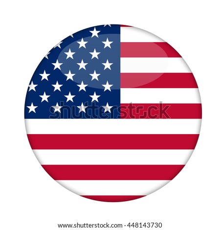 American Stars and Stripes badge isolated on a white background. - stock photo