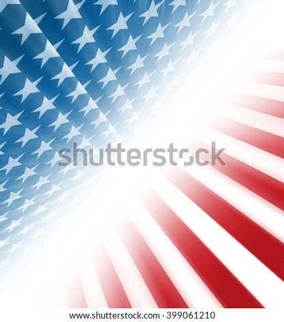 American stars and stripes coming from a perspective on a diagonal - stock photo