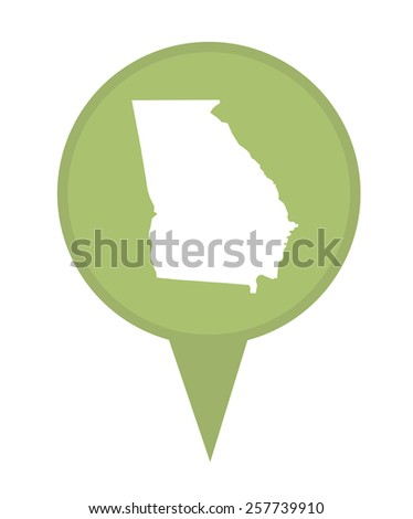 American state of Georgia marker pin isolated on a white background. - stock photo