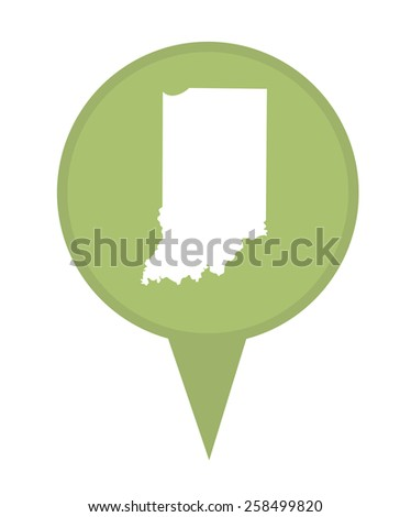 American state of Indiana marker pin isolated on a white background. - stock photo