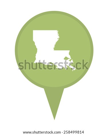 American state of Louisiana marker pin isolated on a white background. - stock photo