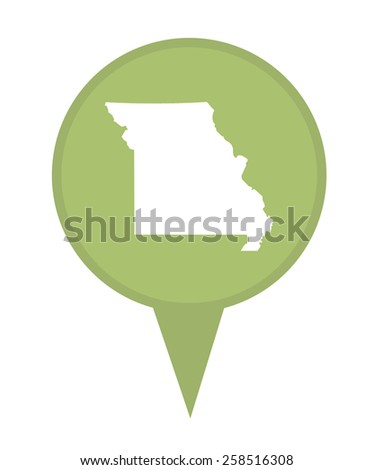 American state of Missouri marker pin isolated on a white background. - stock photo