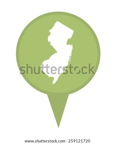 American state of New Jersey marker pin isolated on a white background. - stock photo
