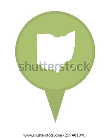 American state of Ohio marker pin isolated on a white background. - stock photo
