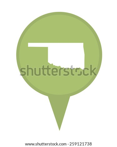 American state of Oklahoma marker pin isolated on a white background. - stock photo